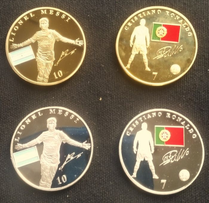 42486546624b8 Football Set of four silver-plated and gold-plated coins Lionel Messi and  Cristiano