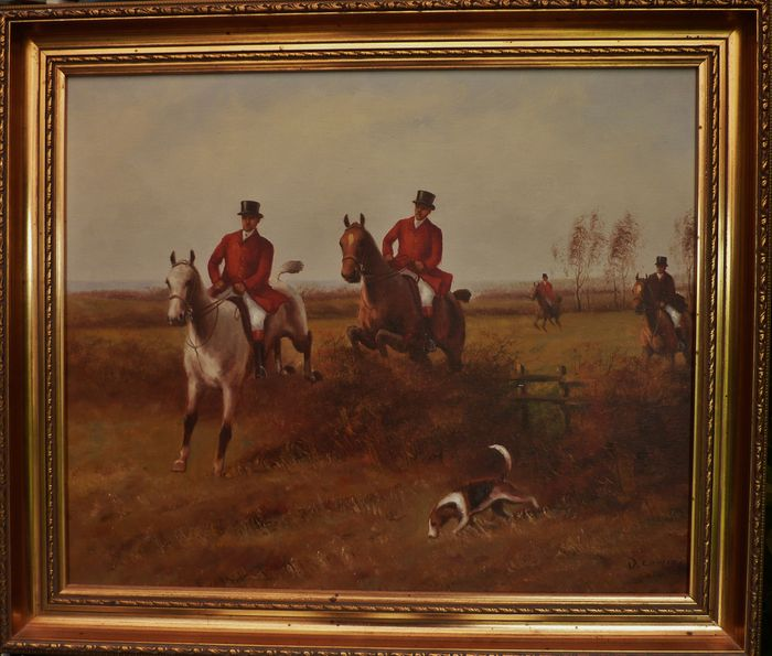 J. Lonie (?) - painting on canvas - hunting scene with riders ...