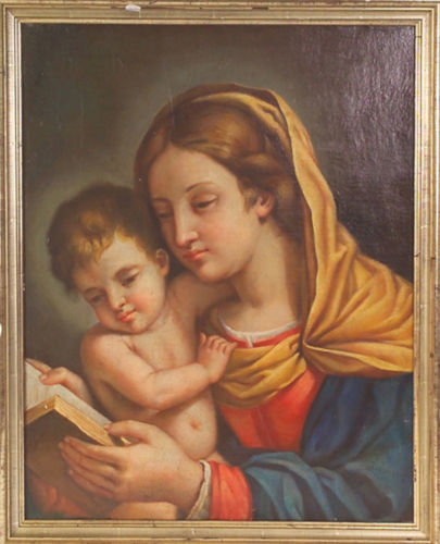 Roman school (late 18th-early 19th century) Madonna leggente con bambino