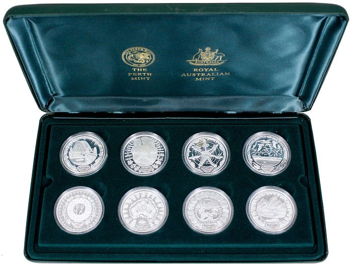 Australië - 5 Dollars 2000 'Olympic Coin Collection' (8 stuks) zilver in cassette