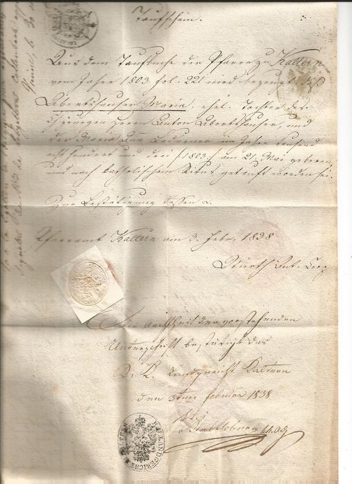 Certified baptism certificate from the imperial period of Ferdinand I - 1838