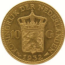 The Netherlands – 10 guilder coin  1932, Wilhelmina, gold.