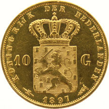 The Netherlands – 10 guilder 1897 Wilhelmina (pearls free from edge), gold