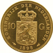 The Netherlands – 10 Guilders 1898 (S) Wilhelmina, gold