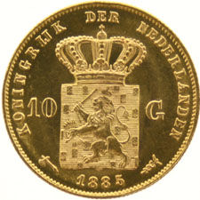 The Netherlands - 10 guilders 1885 (S) Willem III - gold