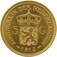The Netherlands – 5 Guilders 1912 Wilhelmina, gold