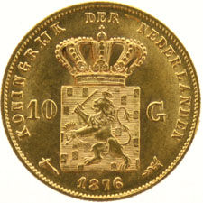 Teh Netherlands - 10 Guilders 1876 Willem III - gold