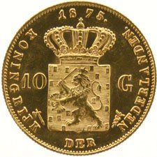 The Netherlands – 10 guilder coin 1875, Willem III – gold.