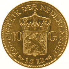 The Netherlands – 10 guilders coin, 1912, Wilhelmina – gold