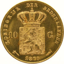 The Netherlands – 10 guilder coin 1879 Willem III, gold.