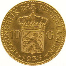 The Netherlands – 10 guilder coin, 1933, Wilhelmina, gold