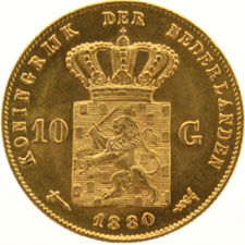 The Netherlands – 10 guilder coin, 1880 (S) – Willem III – gold