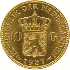 The Netherlands – 10 guilder coin1927, Wilhelmina, gold.