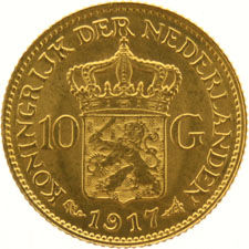 The Netherlands – 10 guilder coin 1917, Wilhelmina, gold.