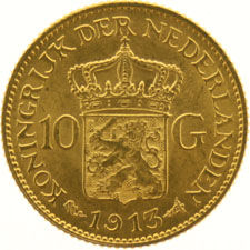 The Netherlands – 10 guilder coin 1913, Wilhelmina, gold.