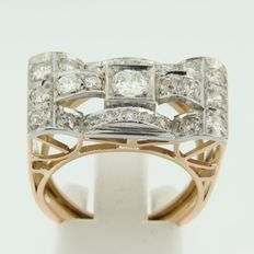 Gold and platinum retro ring set with Bolshevik cut diamonds.