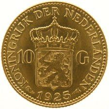 The Netherlands – 10 guilder coin, 1925, Wilhelmina, gold