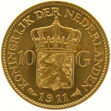 The Netherlands – 10 guilder coin, 1911, Wilhelmina,  gold