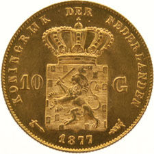 The Netherlands – 10 guilder coin 1877, Willem III, gold.