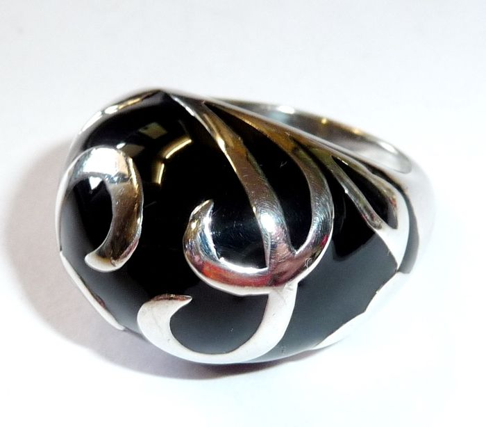 Dome Shaped Bands: Dome-shaped Ring, 925 Silver With Black Enamel