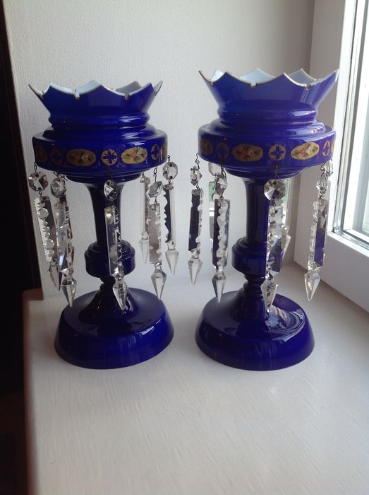 Pair Of Antique Bristol Blue Glass And Crystal Mantle Lustre Vases