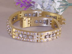 18kt yellow and white gold men's bracelet with 3.84 ct diamonds - 21cm