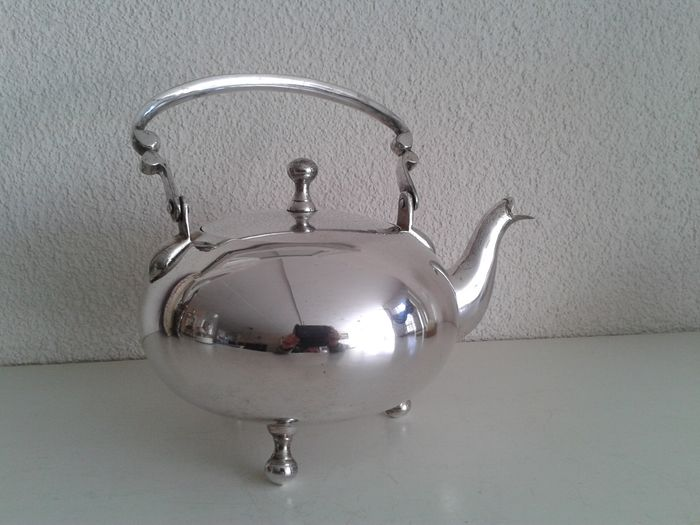 English silver plated 'pot-belly' teapot.