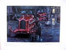 """The Calm Before The Storm"" - Scuderia Ferrari Preparing the Alfa Romeo Cars for Monza : Fine Art Print - Artist Nicholas Watts"