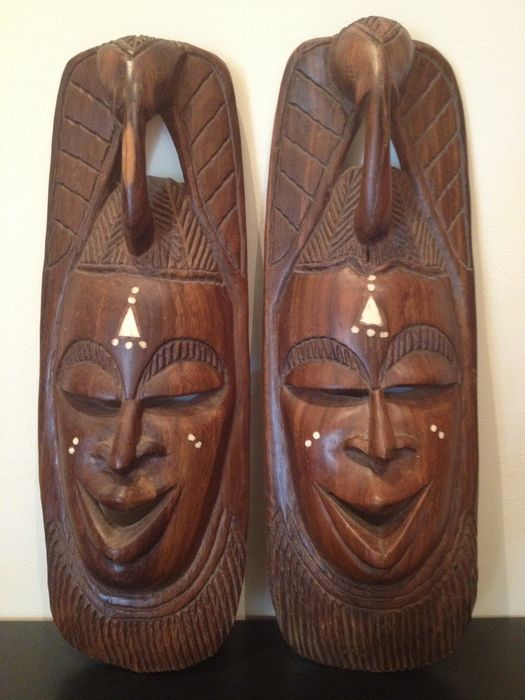 african wood pair of large old african masks male and female