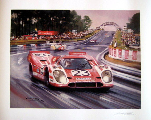 giclee print le mans 1970 winning porsche 917 23 attwood herrmann artist michael turner. Black Bedroom Furniture Sets. Home Design Ideas