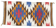 Authentic Hand-Knotted  Navajo Gallup Throw Rug by  ELLA MAE WILSON New Mexico USA    95x47cm or approx. 37 1/2'' x 18 1/2'' inches