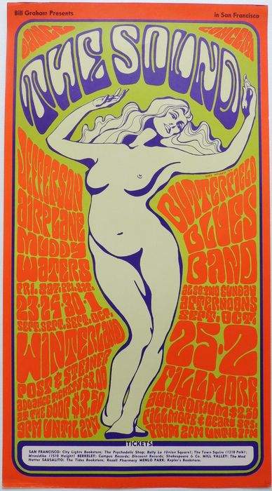 Mint Jefferson Airplane 1966 BG 29 The Sound Fillmore Poster