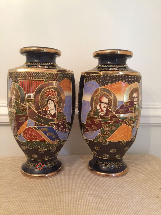 Two Large Satsuma Vases With Decoration Of Figures And Flowers