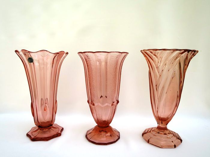 Two Art Deco Scailmont Pressed Glass Vases And A Luxval Pressed