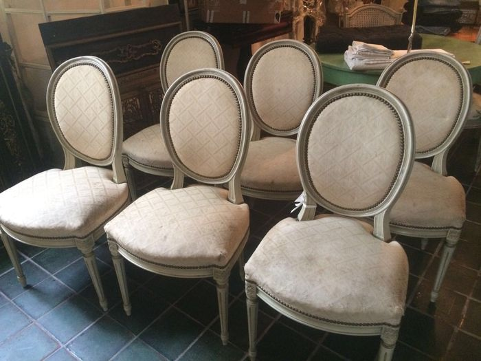 Surprising Six Attractive Louis Xvi Style Painted Dining Room Chairs Catawiki Spiritservingveterans Wood Chair Design Ideas Spiritservingveteransorg