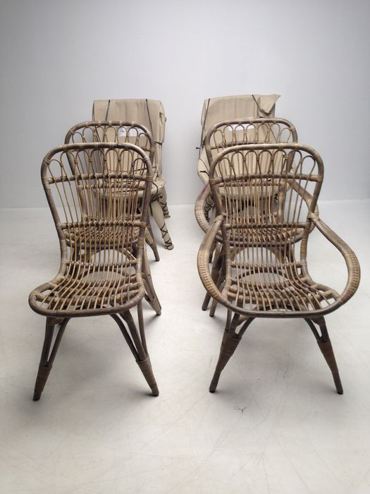 Rieten Stoelen 6.Unknown Designer 6 X Rattan Grasia Chairs Catawiki