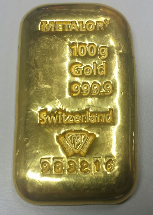 Gold bar, 100 gr, Metalor Switzerland with certificate