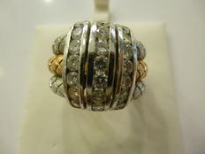 Anillo de oro de 18 kt con 21 diamantes, 1,26 ct en total