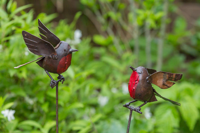 Two Beautiful Garden Stick Sculptures Of Robins.