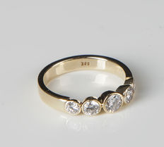 14K Gold Memory Ring with 5 Diamonds of c. 0.86 ct  RS 53/ 17,1mm ∅ / US 6,5-7