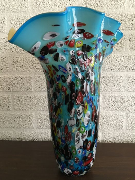 Large Millefiori Blown Glass Vase Height 46 Cm And It Weighs 7 Kg