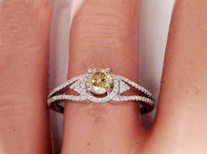 0.73 natural, white gold engagement ring with diamonds - Halo, fancy colour