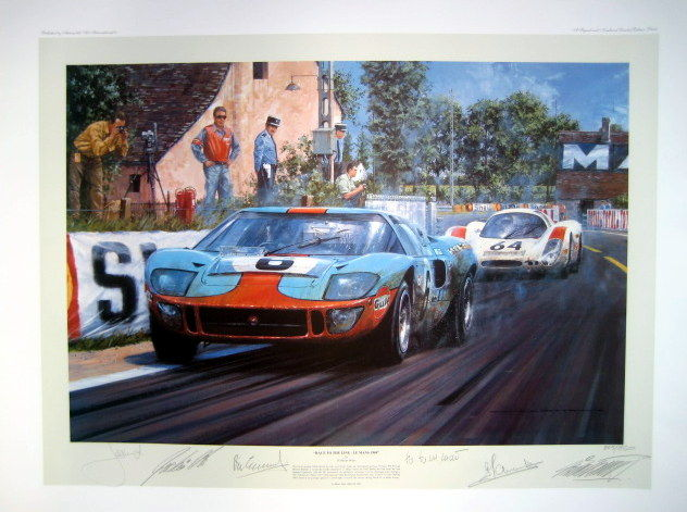 "Fine Art Print - "" Race To the Line "" Ford GT40 - Le Mans 1969 : Artist Nicholas Watts"