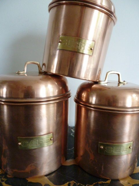 Set of 3 copper storage containers Catawiki