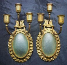 Large pair of candlesticks, bronze and glass wall lights - France - 1880