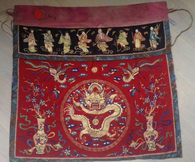 Temple cloth with dragon and figures embroidered textiles - China - first half 20th century
