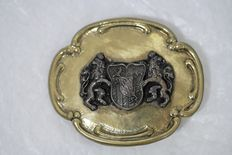 Derrick - German Crime tv-series - worn item by actor Horst Tappert in the tv-serie - Belt buckle with Bavarian Arms