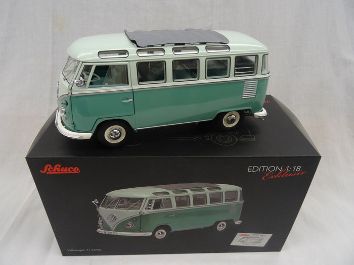 schuco - scale 1/18 - volkswagen t1 samba; color green with white