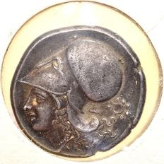 Ancient Greece - Corinth. AR Stater, struck on Corinth in around 375-300 BC with old certificate of Jacques Schulman B.V.