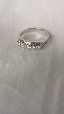 Gold eternity ring with 5 diamonds